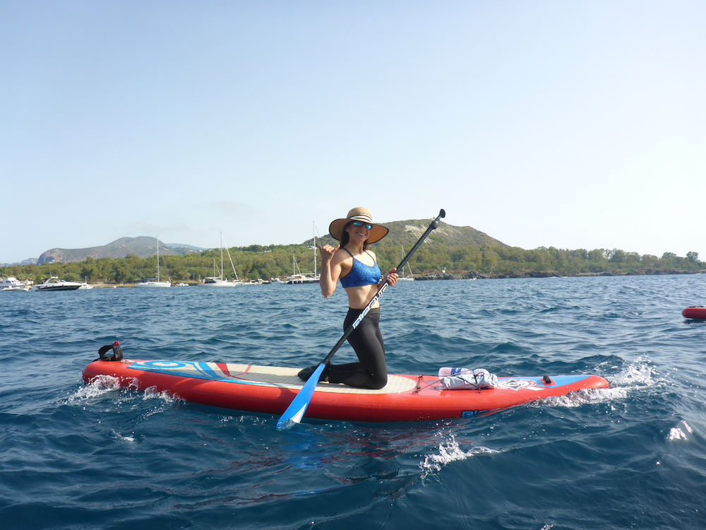 sicily in kayak stand up paddle